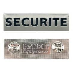 "Metalskilt ""SECURITE"" m. pin."
